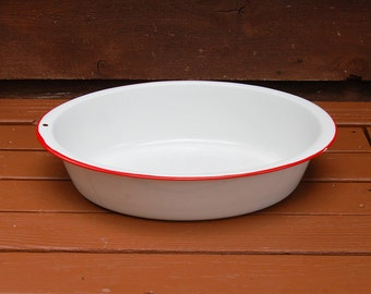 White Enamelware Oval Basin, Vintage Enamel Tub, White Enamel Wash Tub