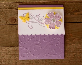 Purple and Yellow Flower All Occasion Card, Yellow Butterfly Card, Purple Flower Card, Get Well Card For Her, Floral Happy Birthday Card