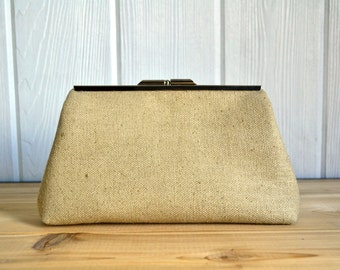 Raw Silk Evening Clutch with Nickel Frame (gold)