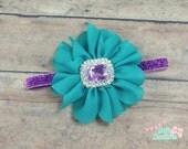 Teal and purple headband, purple and teal bow, light purple bow, teal headband, purple headband, bling baby headband, flower headband, baby