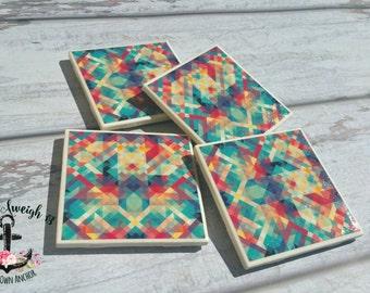Abstract geometric art coaster set