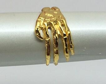 Gold ear cuff, skeleton hand ear wrap, cartilage earring, yellow gold ear cuff, simple ear cuff, men's earring E103Y