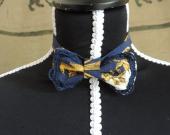 Royal blue pattern bowtie