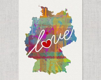 Germany Love - Colorful Watercolor Style Wall Art Print & Home Country Map Artwork - Travel, Moving, Engagement, Wedding, Honeymoon Gift