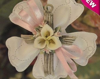 Confetti Flowers Almond  Flowers Baptism Christening with porcelain cross Favors First Communion Bomboniere