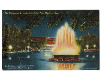 Montreal Canada vintage linen postcard | Illuminated Fountain, La Fontaine Park, La Fontaine Lumineuse | 1940s Canadian travel postcard