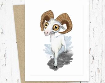 Dall Sheep Ram Greeting Card, Whimsical, Made In Alaska, Hunting, Big Eyes