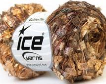 Khaki, White, Camel Butterfly Ribbon Yarn Scarf knitting yarn - Boutique fashion novelty yarn - 164 yards per skein - ICE Brand #22557