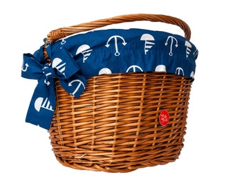 Classic Wicker Bike Basket with liner Sailor, Bike Belle
