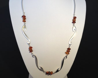 Sterling silver celtic inspired necklace with amber detail