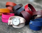 Double Wrap Vegtan Slide Through Button Stud Watch Strap