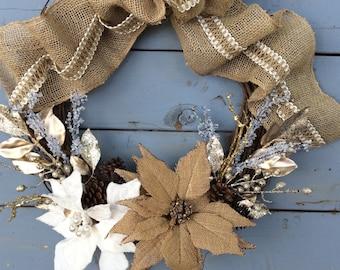 Rustic Christmas Wreath, Burlap Wreath, Holiday Burlap Wreath, White and Burlap Pointsettia Wrearh, Burlap Christmas Wreath