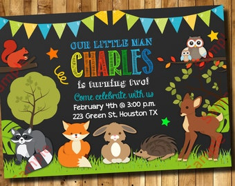 Woodland Birthday Invitation 1st, 2nd, 3rd Any Age Birthday - Forest Invitation Digital File