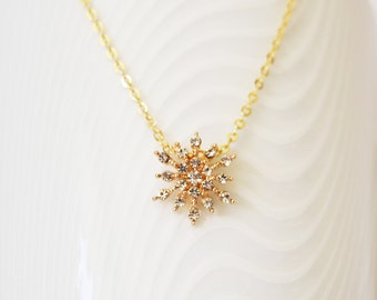 Gold Necklace, Bridesmaid Gift, CZ Necklace, Rhinestone Pendant, Cubic Zirconia Gold Filled Necklace, Bridesmaid Necklace, Wedding Necklace