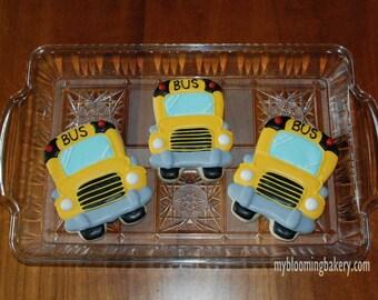 School Bus - One D0zen- 12 Rolled Decorated Sugar Cookies