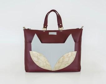 FOX / Bordeaux colour fox handbag / Bordeaux and light gray handbag / Fox handbag / Everyday bag / Handbag with fox / Christmas gift