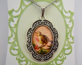 Robin Redbreast, Red robins,  bird vintage silver necklace
