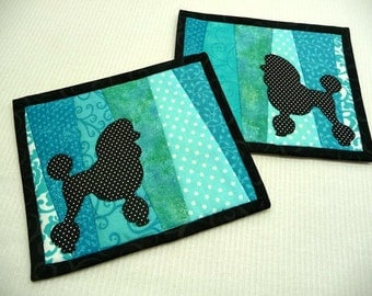 Poodle Mug Rugs - Choose Colors - Set of 2 - Poodle Coasters - Dog Mug Rugs - Dog Coasters - Mug Rugs - Coasters
