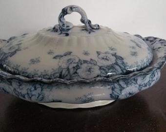 Antique Flow Blue Furnival Lidded Tureen  English Rose England No 373946