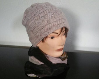 Hand Knit Cable Hat Mohair And Acrylic