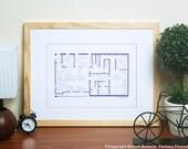 The Office TV Show - Dunder Mifflin Floor Plan - Blueprint Poster - Scranton Office of Dunder Mifflin - Gift for The Office TV Show!