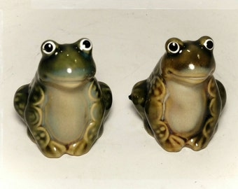 Collectible Salt and Pepper Frog Shakers/ Collectible Shakers/ Picnic Basket Need/Cake Topper/ Best Gift Idea / F1517