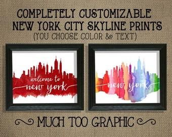 New York City Skyline Watercolor Art Print 16X20 8X10 11X14 Fully Customizable  Welcome to New York Rainbow Red