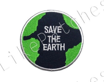 Save the Earth - Dark Blue Patch - New Sew / Iron on Patch Embroidered Applique Size 7.4cm.x7.2cm.