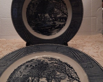 Royal China Co. Currier and Ives The Old Grist Mill Dinner Plates