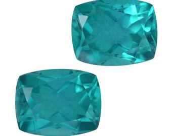 Capri Blue Quartz Triplet Loose Gemstones Set of 2 Cushion Cut 1A Quality 9x7mm TGW 4.45 cts.