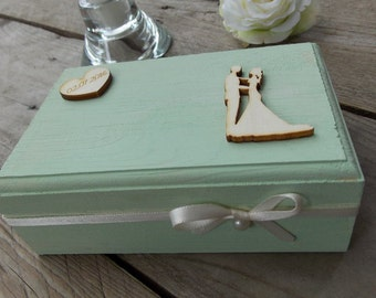 Ring bearer box Mint-wedding/rings/ring pillow/bride