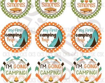 "1"" Digital Bottle Cap Sheet **INSTANT DOWNLOAD** Happy Camper"