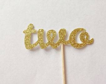 12 Two Glitter Cupcake Toppers - Birthday Party Decorations