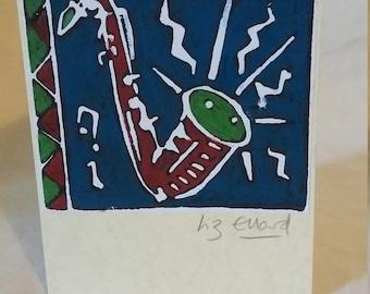 Saxo. Lino print greetings card.