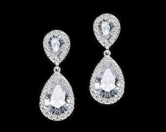 Diamond teardrop earrings, bridesmaid earrings, cubic zirconia earrings ,bridal jewelry