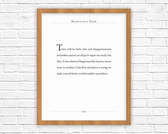 Jane Austen Quote | Mansfield Park quote | Find Comfort Somewhere | Gifts for Wife, Husband, Spouse