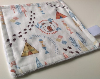 Baby and Toddler Comforter in Bear and Wigwam Print with Minky Backing