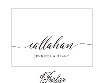 Foldover Elegant Callahan Personalized Couples Stationery- Custom Name Foldover Formal card set Wedding Callahan