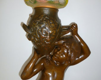 Exceptional and very rare LARGE Art Nouveau figural lamp signed Moreau – circa 1900
