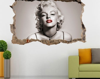 Marilyn Monroe Red Lips Smashed Wall 3D Decal Wall Sticker H176