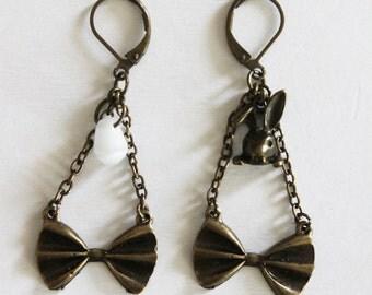 Earrings metal bronze with knots Alice