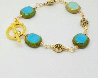 Green wrap bracelet, green wire bracelet, green stone bangle, gold boho jewelry, blue green bracelet, blue jewelry, olive green bracelet