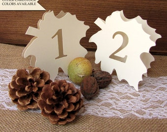 Fall wedding table numbers - Leaf table number - Table numbers wedding - Fall table numbers - Autumn wedding - Wedding table number
