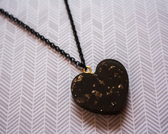 Gold Leaf Black Heart necklace