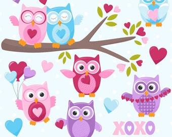 80% OFF SALE Valentine's Day Clipart, Valentine Clip Art, Owl Clipart, Valentine Owls, Digital Owls