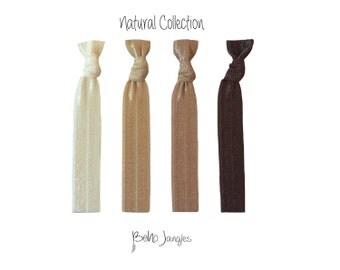 Natural Shades Hair Ties, Ponytail holders, Knotted Hair Ties, Stretchy Hair Ties, Hair Elastic, 4 Elastic Ties, Womens Hairband