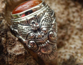 Silver ring Boma Motif with carnelian