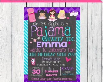 Pajama Slumber Party Personalized birthday invitation- ***Digital File***(pj-slumber23)