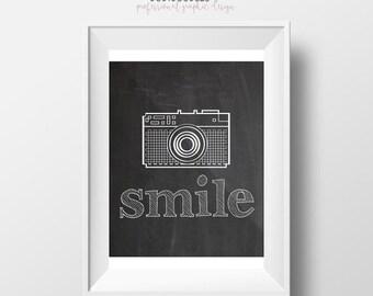 70% CLEARANCE THRU 7/30 Smile, Chalkboard Printable Art Print, Camera Printable, Instant Download, Fun Retro Inspirational Art, Smile Print,