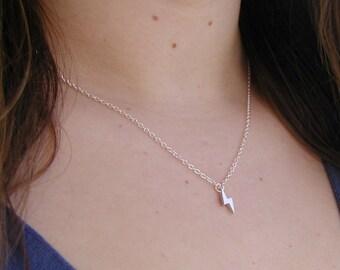 Lightning Bolt Necklace - Charm Necklace - Tiny Necklace - Delicate Necklace - Silver Necklace - Lightning Bolt Pendant - Delicate Necklace